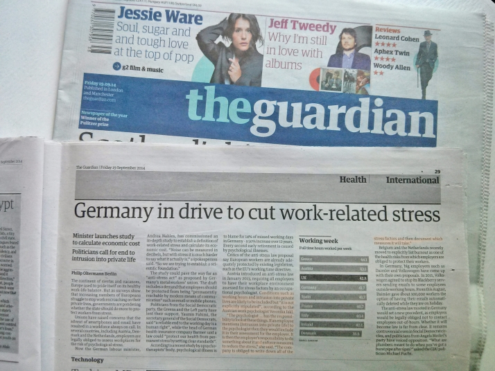 The Guardian: Germany in drive to cut work-related stress